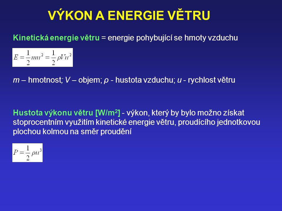 VÝKON A ENERGIE VĚTRU Kinetická energie větru = energie pohybující se hmoty vzduchu.