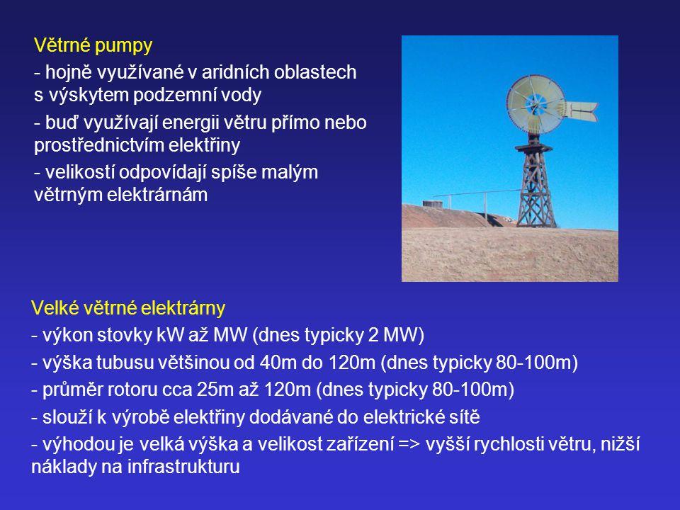 Větrné pumpy hojně využívané v aridních oblastech s výskytem podzemní vody. buď využívají energii větru přímo nebo prostřednictvím elektřiny.