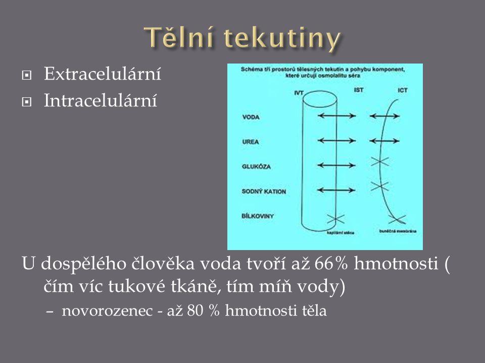 Tělní tekutiny Extracelulární Intracelulární