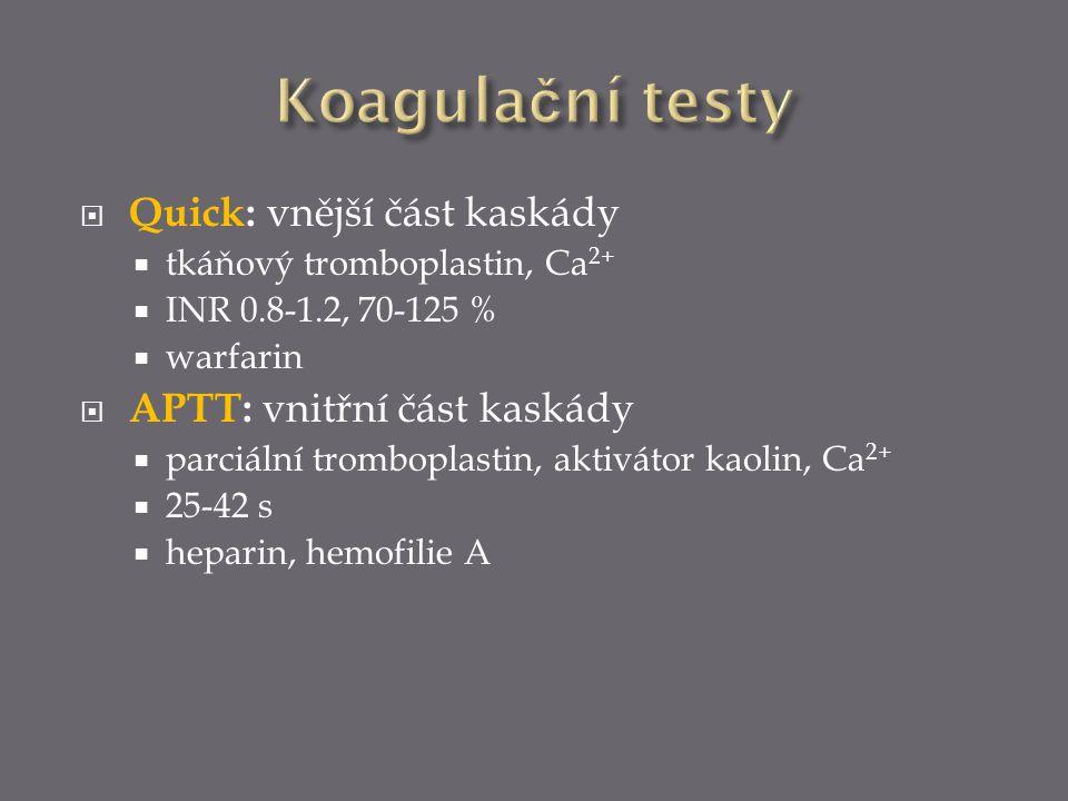 Koagulační testy Quick: vnější část kaskády APTT: vnitřní část kaskády