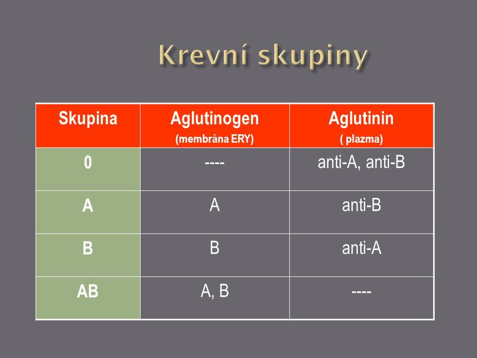 Krevní skupiny Skupina Aglutinogen Aglutinin ---- anti-A, anti-B A