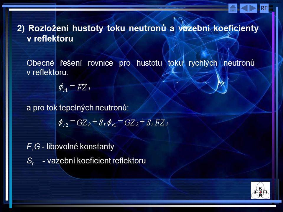 2) Rozložení hustoty toku neutronů a vazební koeficienty v reflektoru