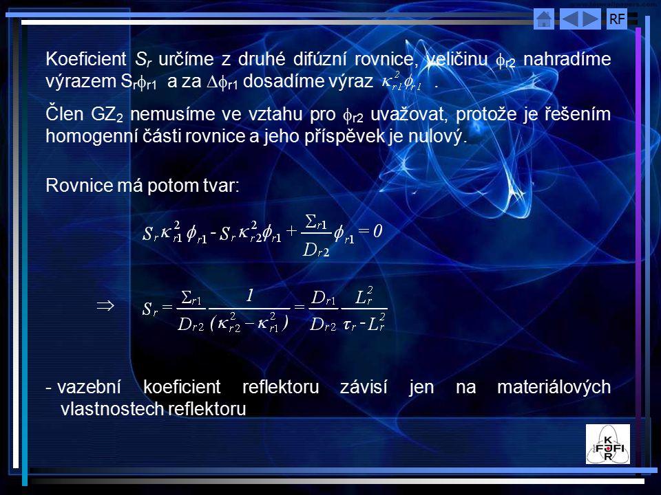 Koeficient Sr určíme z druhé difúzní rovnice, veličinu r2 nahradíme výrazem Srr1 a za r1 dosadíme výraz .