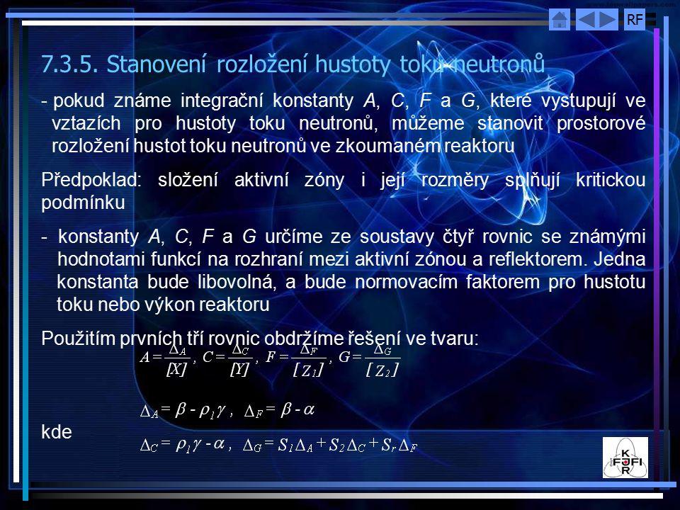 7.3.5. Stanovení rozložení hustoty toku neutronů