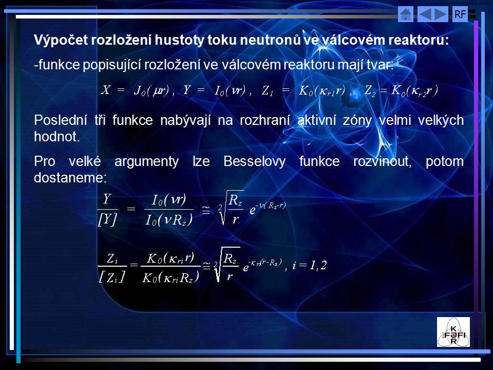 Výpočet rozložení hustoty toku neutronů ve válcovém reaktoru: