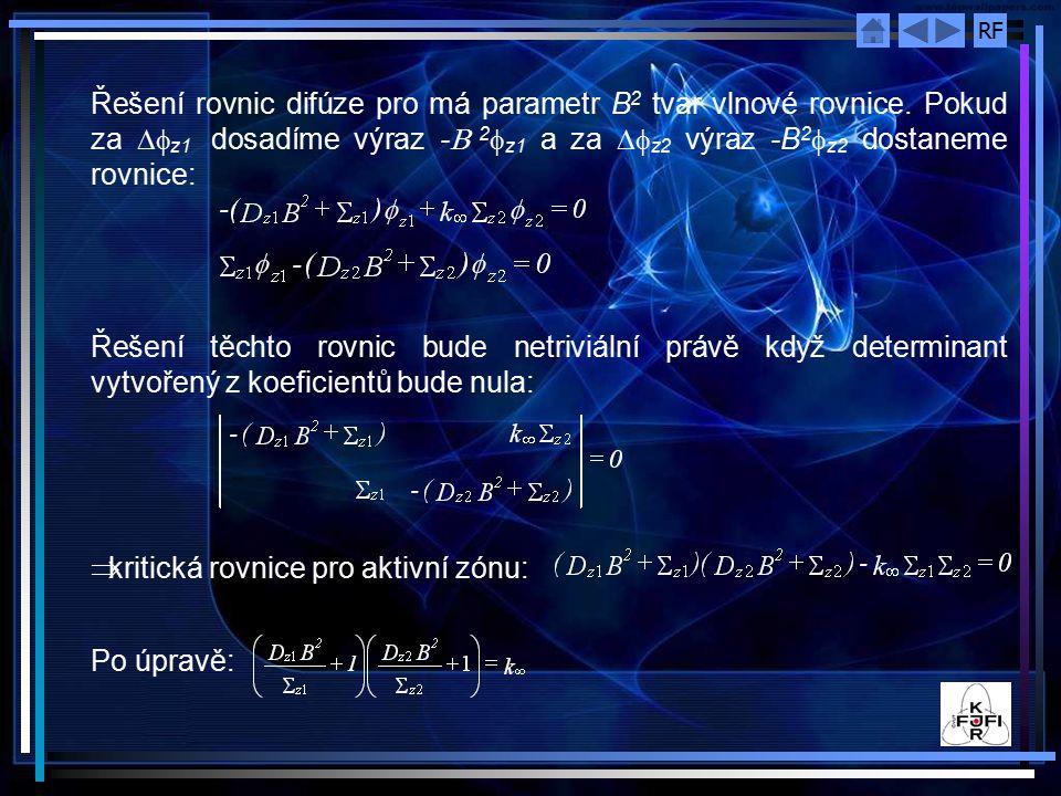 Řešení rovnic difúze pro má parametr B2 tvar vlnové rovnice