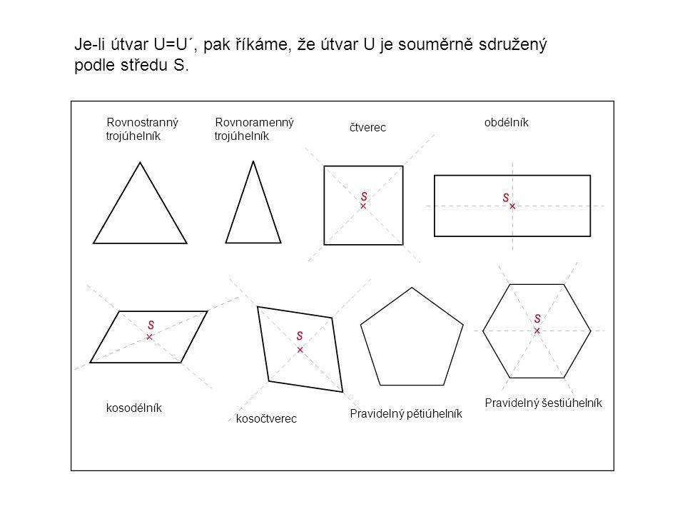 Je-li útvar U=U´, pak říkáme, že útvar U je souměrně sdružený podle středu S.