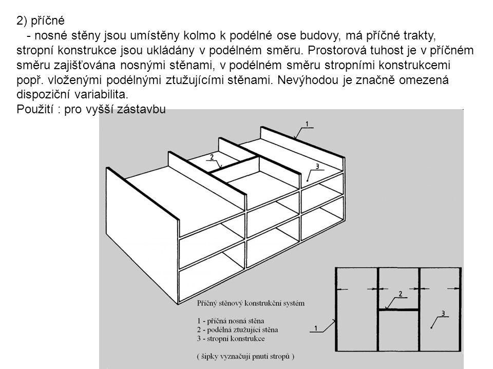 2) příčné - nosné stěny jsou umístěny kolmo k podélné ose budovy, má příčné trakty,