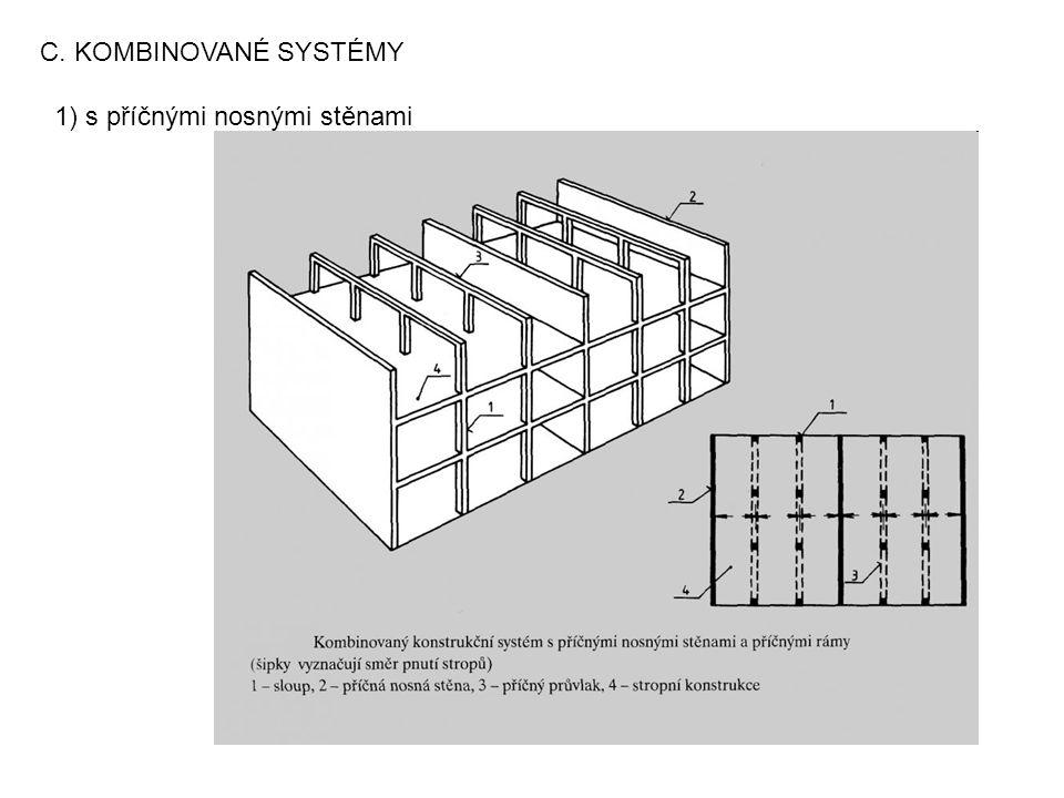 C. KOMBINOVANÉ SYSTÉMY 1) s příčnými nosnými stěnami