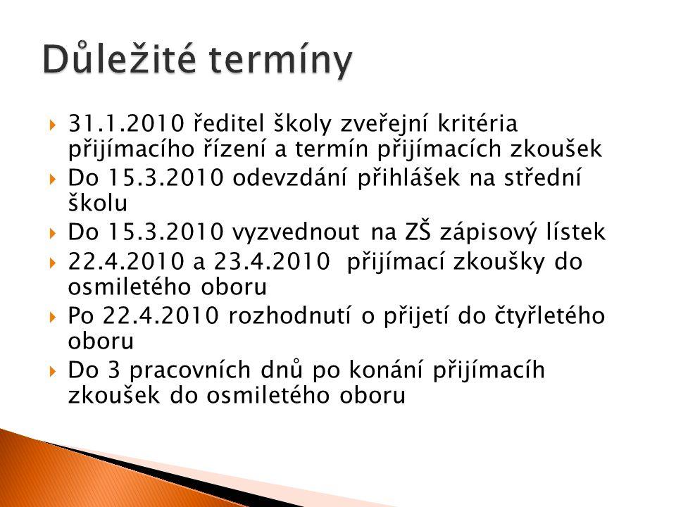 Důležité termíny 31.1.2010 ředitel školy zveřejní kritéria přijímacího řízení a termín přijímacích zkoušek.