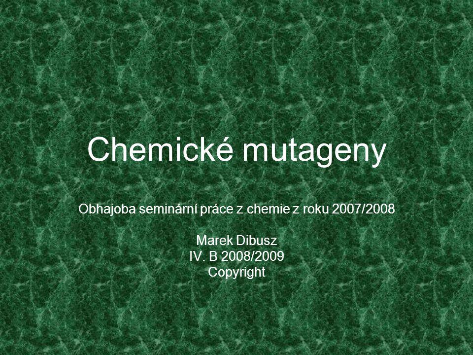 Obhajoba seminární práce z chemie z roku 2007/2008