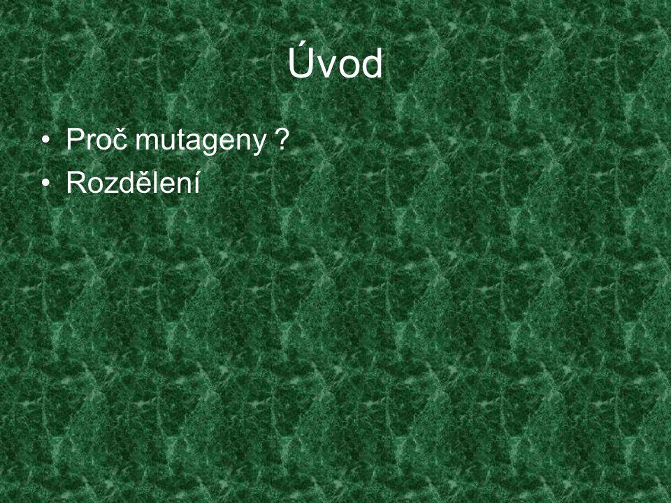 Úvod Proč mutageny Rozdělení