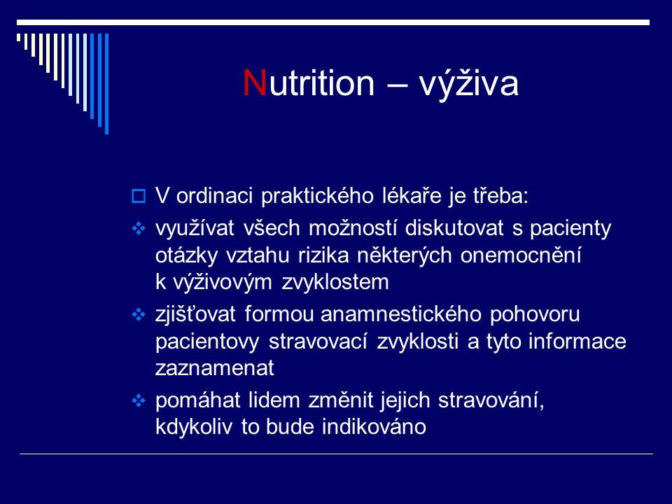 Nutrition – výživa V ordinaci praktického lékaře je třeba: