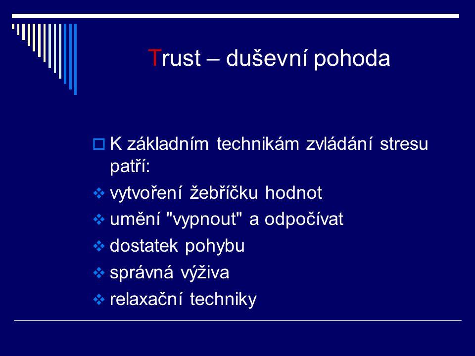Trust – duševní pohoda K základním technikám zvládání stresu patří: