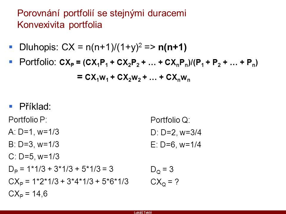 Porovnání portfolií se stejnými duracemi Konvexivita portfolia