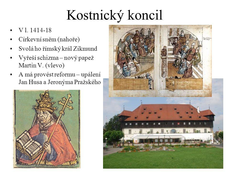 Kostnický koncil V l. 1414-18 Církevní sněm (nahoře)
