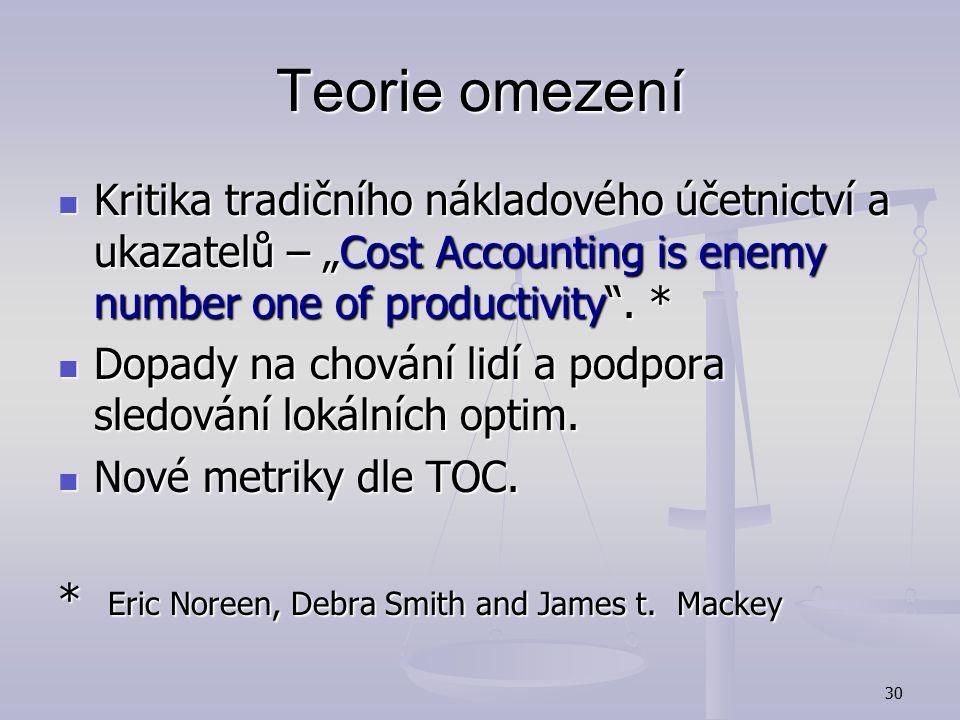 """Teorie omezení Kritika tradičního nákladového účetnictví a ukazatelů – """"Cost Accounting is enemy number one of productivity . *"""