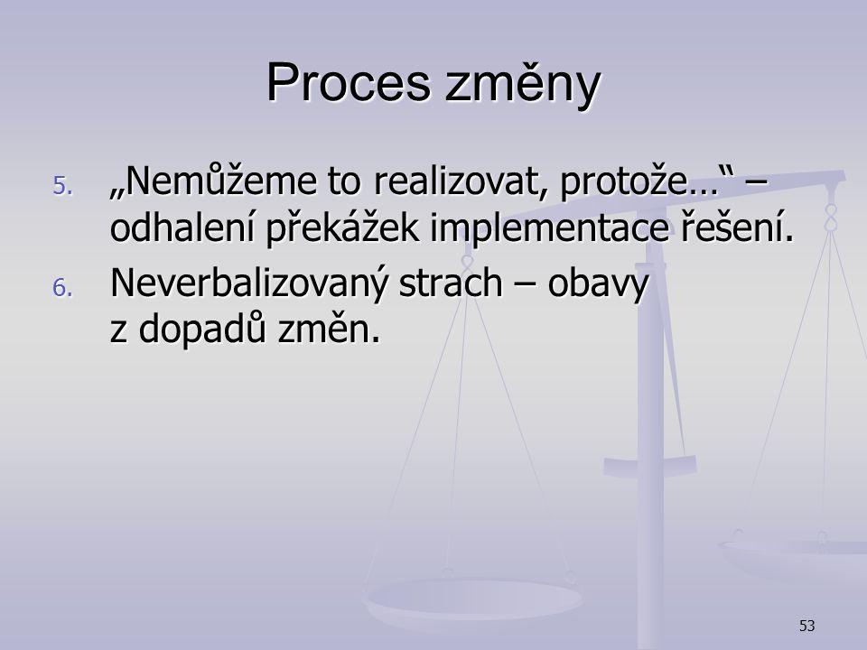 """Proces změny """"Nemůžeme to realizovat, protože… – odhalení překážek implementace řešení."""