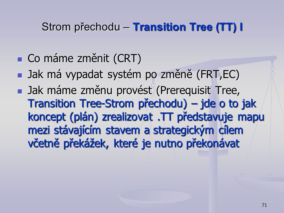 Strom přechodu – Transition Tree (TT) I