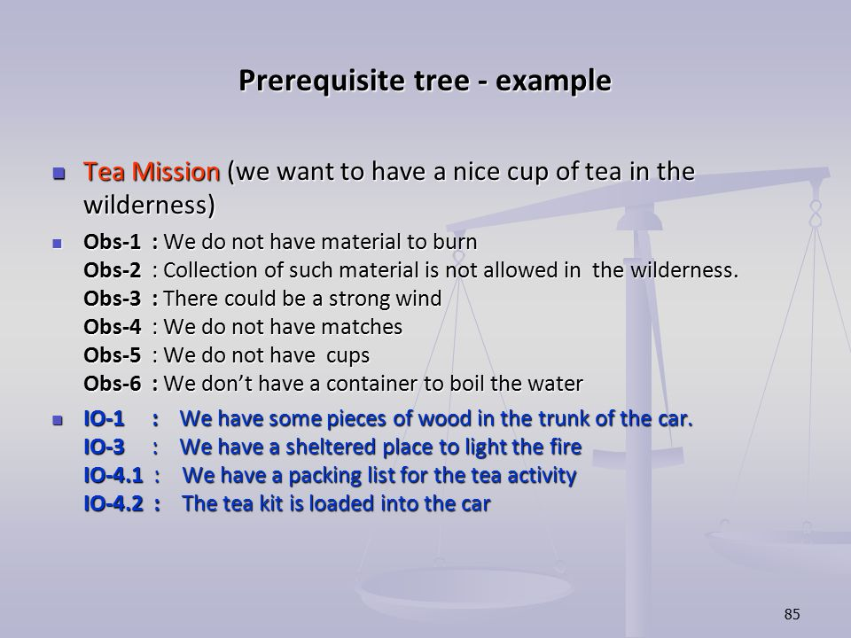 Prerequisite tree - example