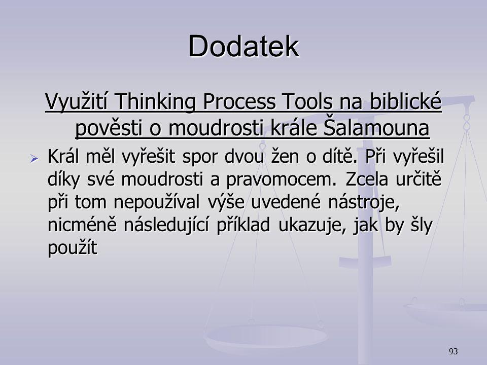 Dodatek Využití Thinking Process Tools na biblické pověsti o moudrosti krále Šalamouna.
