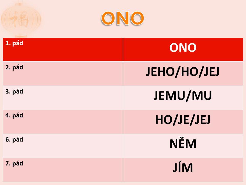 ONO ONO JEHO/HO/JEJ JEMU/MU HO/JE/JEJ NĚM JÍM 1. pád 2. pád 3. pád