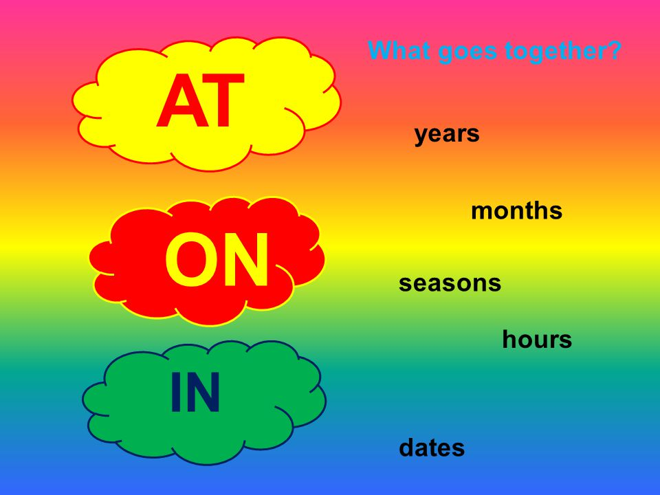 What goes together AT years months ON seasons hours IN dates