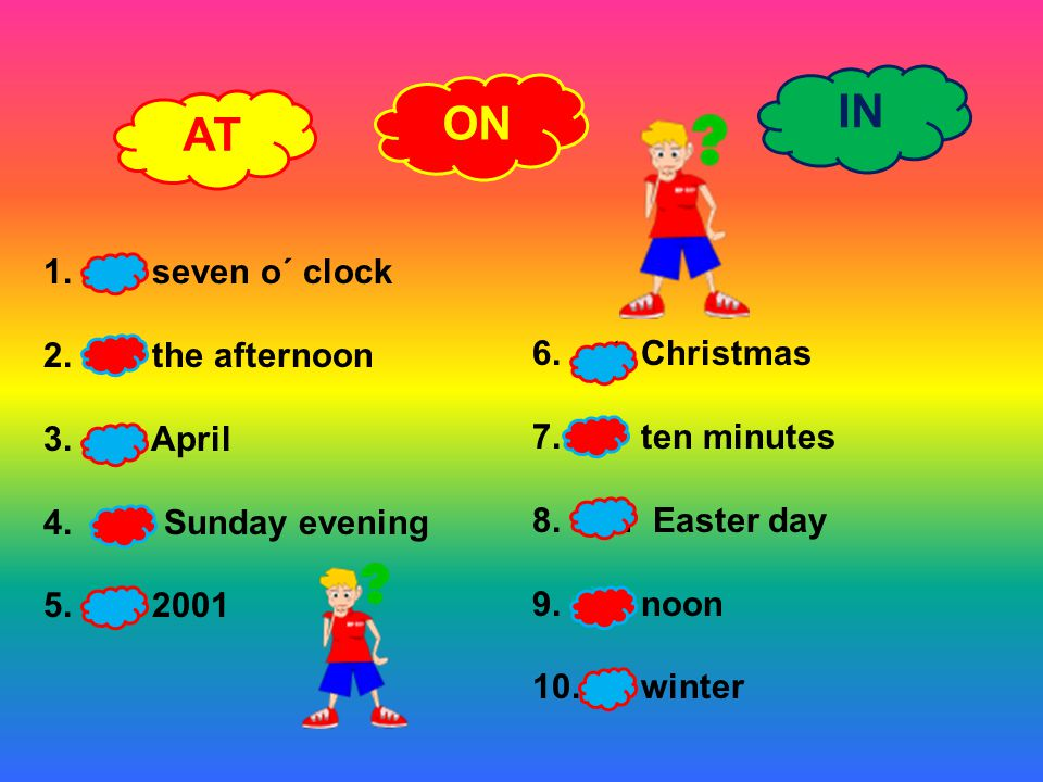 IN ON AT at seven o´ clock in the afternoon in April at Christmas