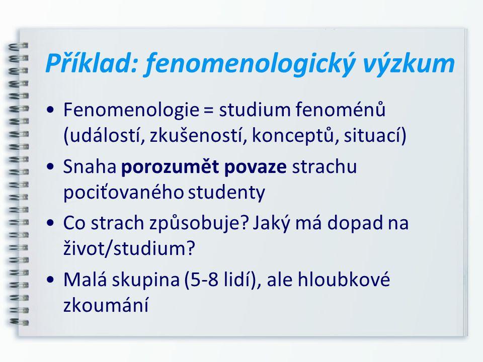 Příklad: fenomenologický výzkum