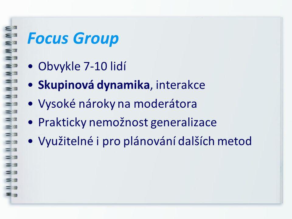 Focus Group Obvykle 7-10 lidí Skupinová dynamika, interakce