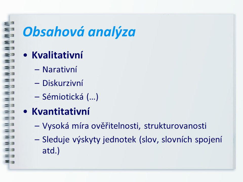 Obsahová analýza Kvalitativní Kvantitativní Narativní Diskurzivní