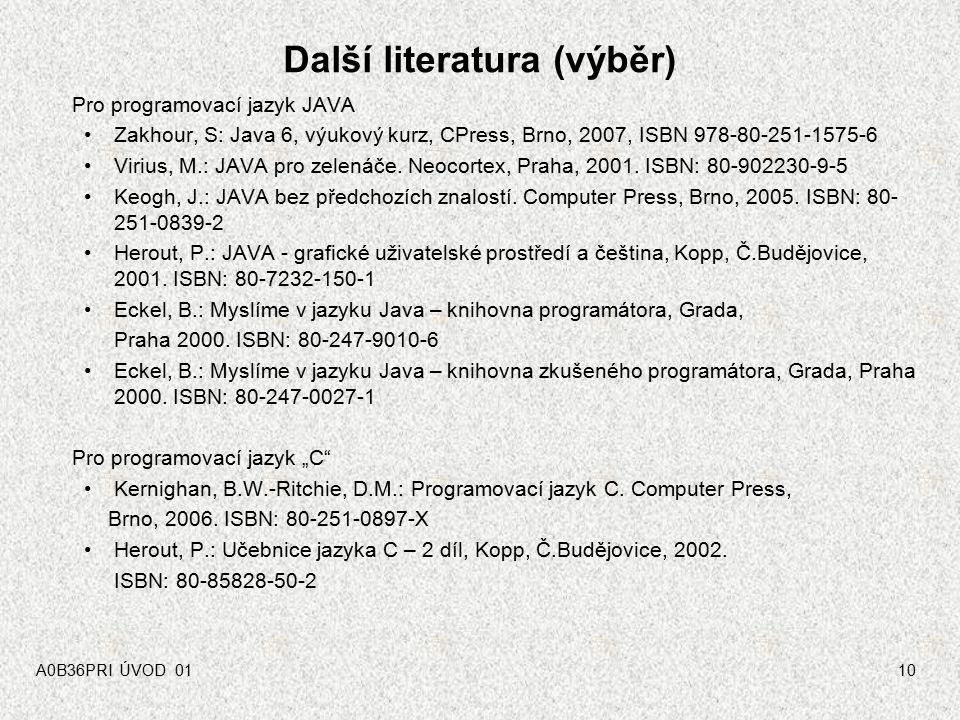 Další literatura (výběr)