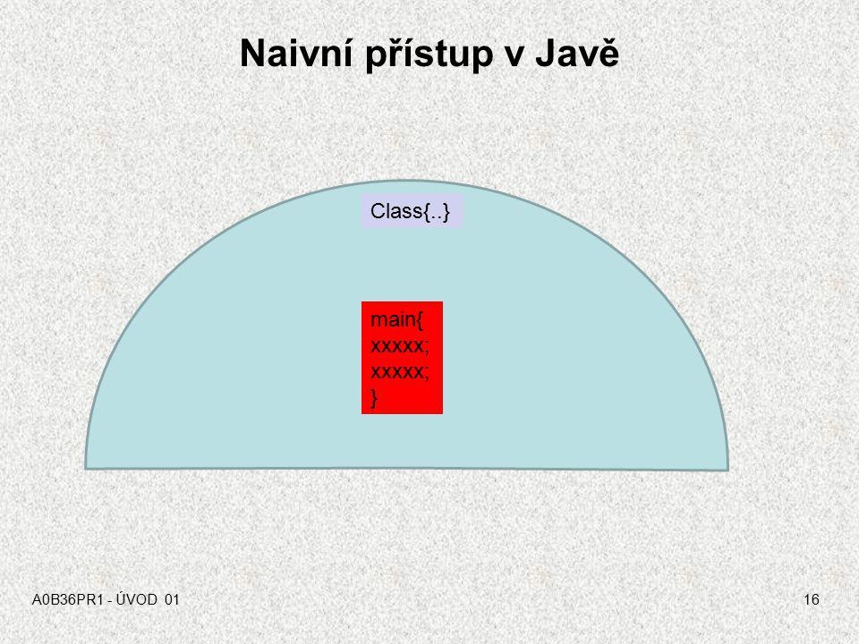 Naivní přístup v Javě Class{..} main{ xxxxx; } A0B36PR1 - ÚVOD 01