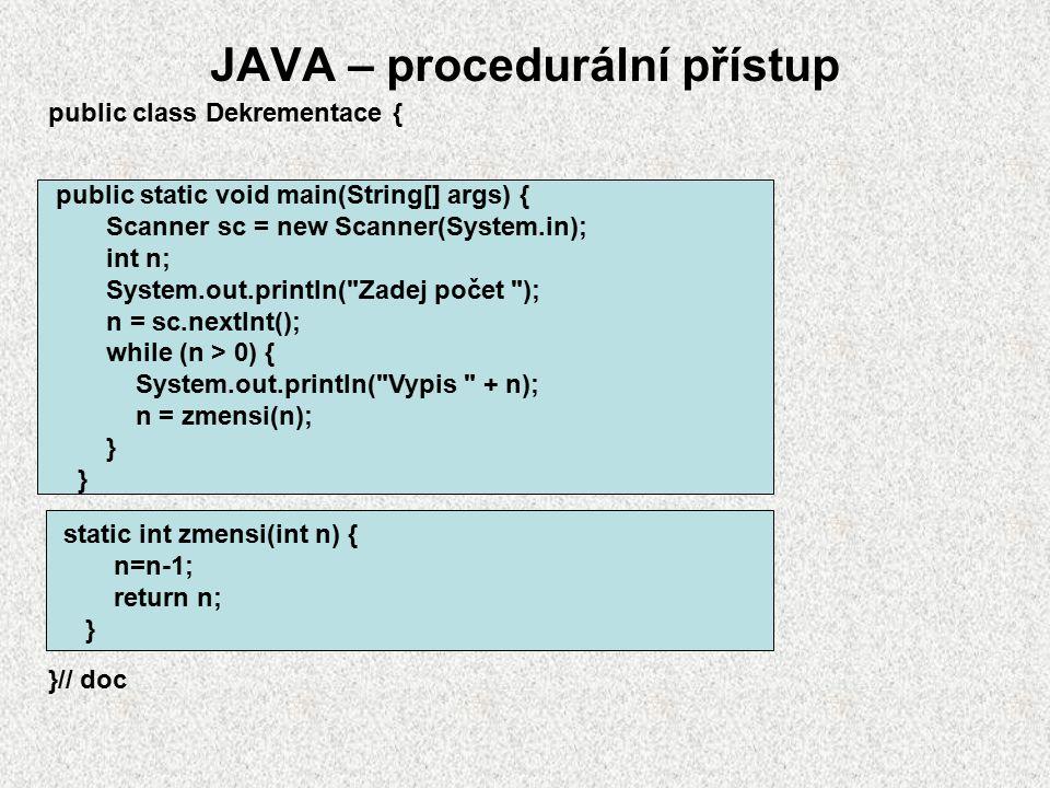 JAVA – procedurální přístup