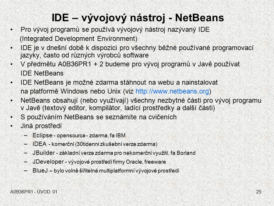 IDE – vývojový nástroj - NetBeans
