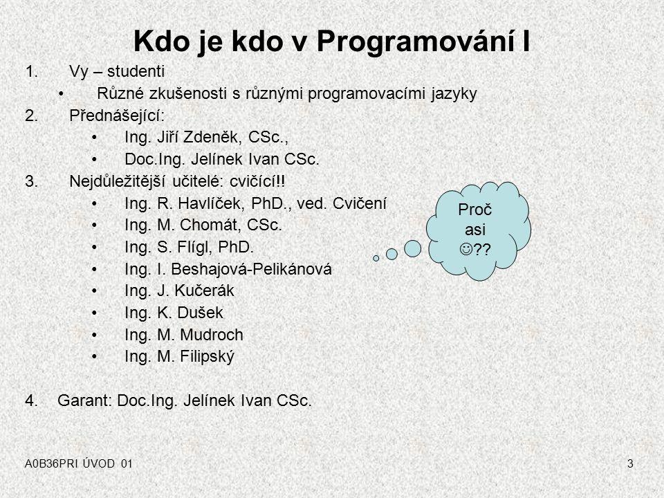 Kdo je kdo v Programování I