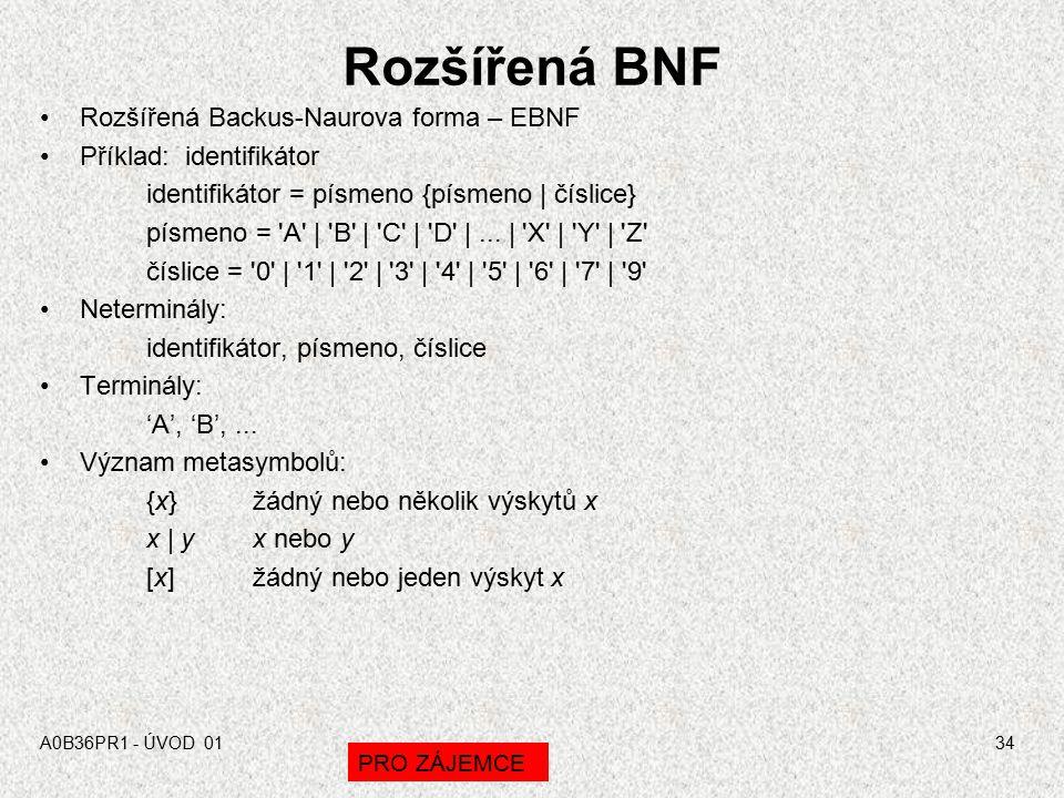 Rozšířená BNF Rozšířená Backus-Naurova forma – EBNF