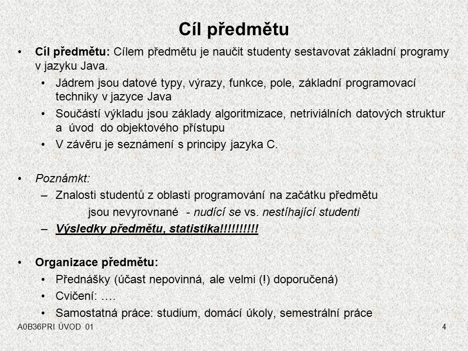 Cíl předmětu Cíl předmětu: Cílem předmětu je naučit studenty sestavovat základní programy v jazyku Java.