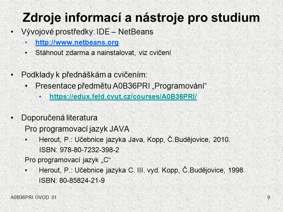 Zdroje informací a nástroje pro studium