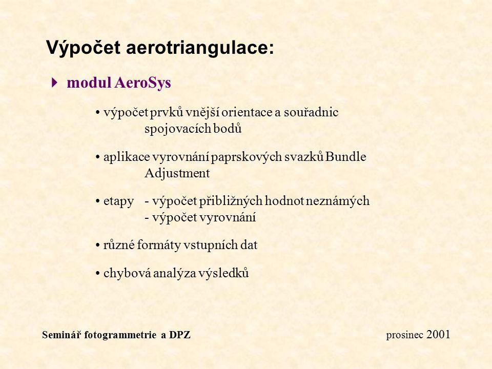 Výpočet aerotriangulace: