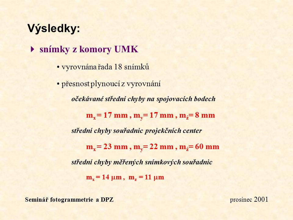 Výsledky:  snímky z komory UMK vyrovnána řada 18 snímků