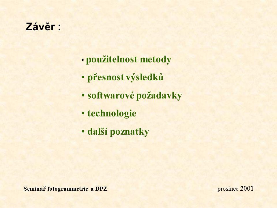 Závěr : přesnost výsledků softwarové požadavky technologie