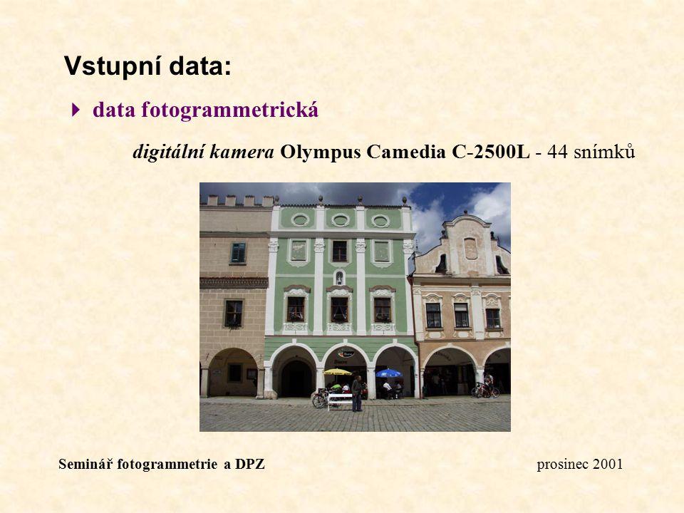 Vstupní data:  data fotogrammetrická