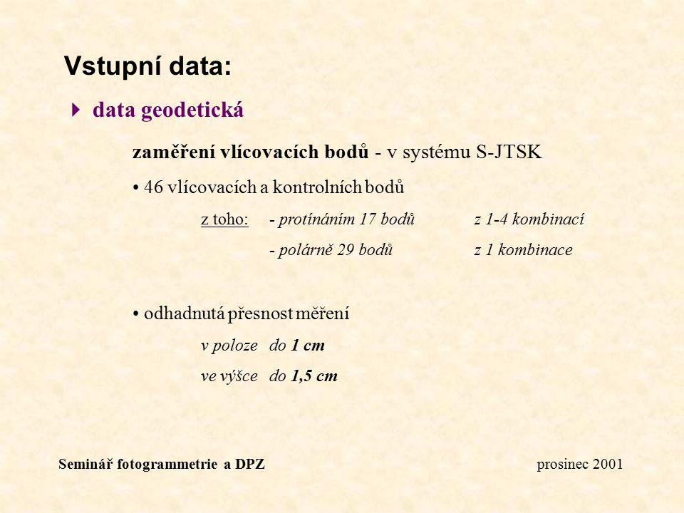 Vstupní data:  data geodetická