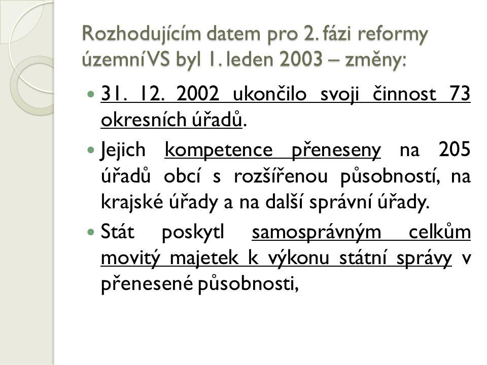 Rozhodujícím datem pro 2. fázi reformy územní VS byl 1