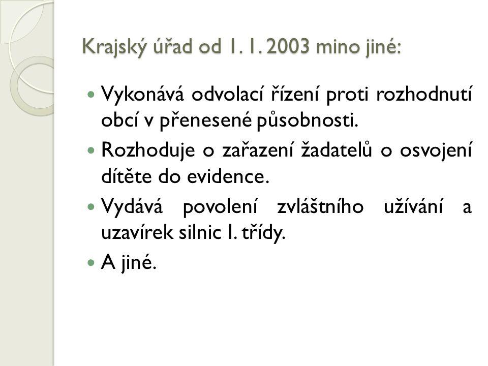 Krajský úřad od 1. 1. 2003 mino jiné: