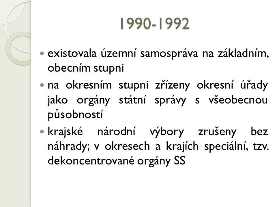1990-1992 existovala územní samospráva na základním, obecním stupni