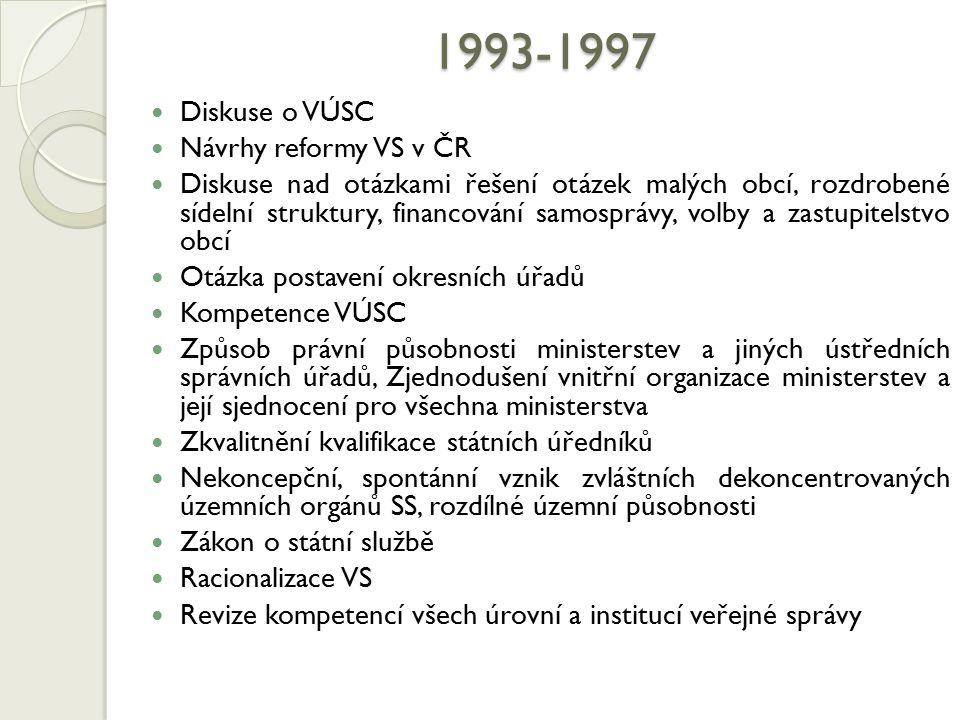 1993-1997 Diskuse o VÚSC Návrhy reformy VS v ČR