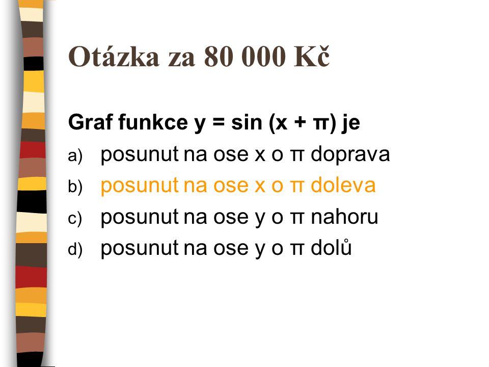 Otázka za 80 000 Kč Graf funkce y = sin (x + π) je