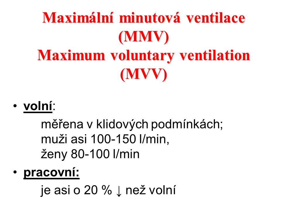 Maximální minutová ventilace (MMV) Maximum voluntary ventilation (MVV)